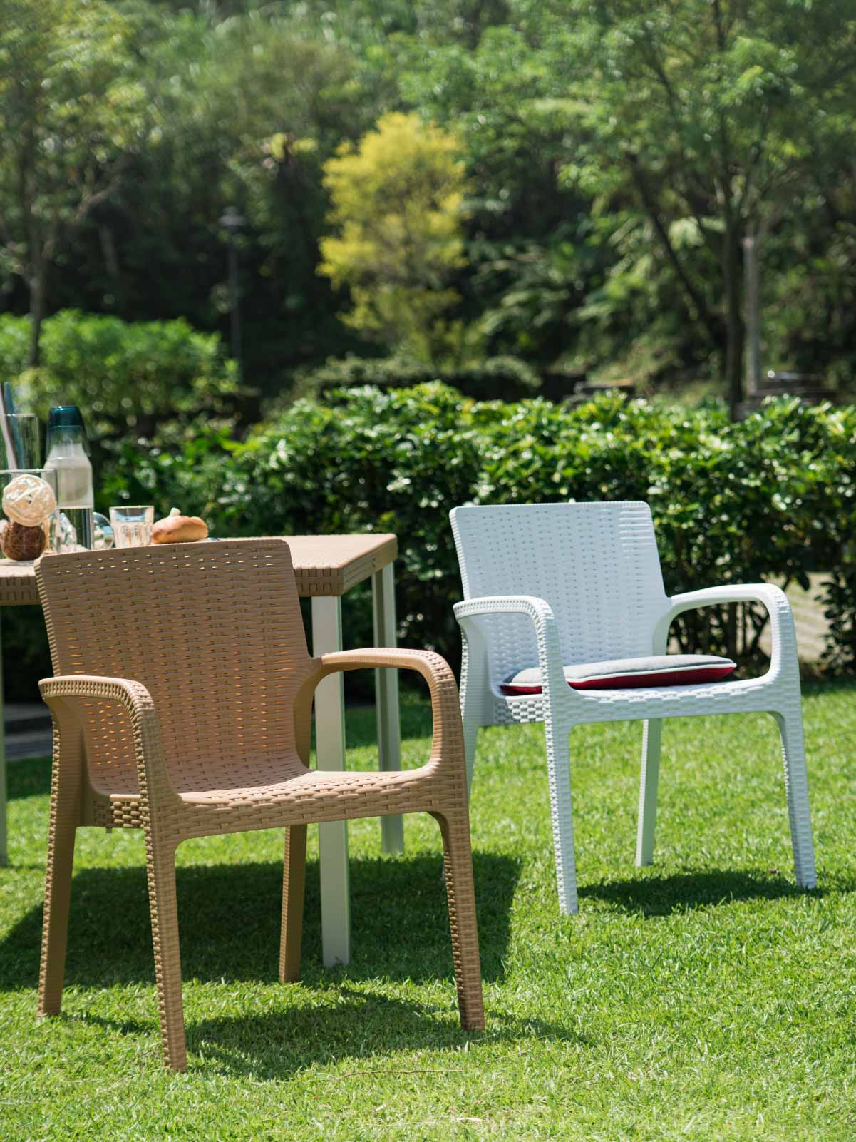 Koppla Stackable Rattan Dining Arm Chair